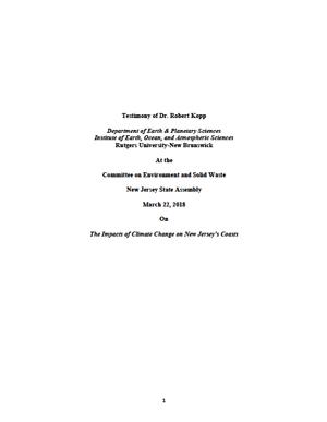 Kopp Testimony-Impacts of Climate Change on NJ Coast
