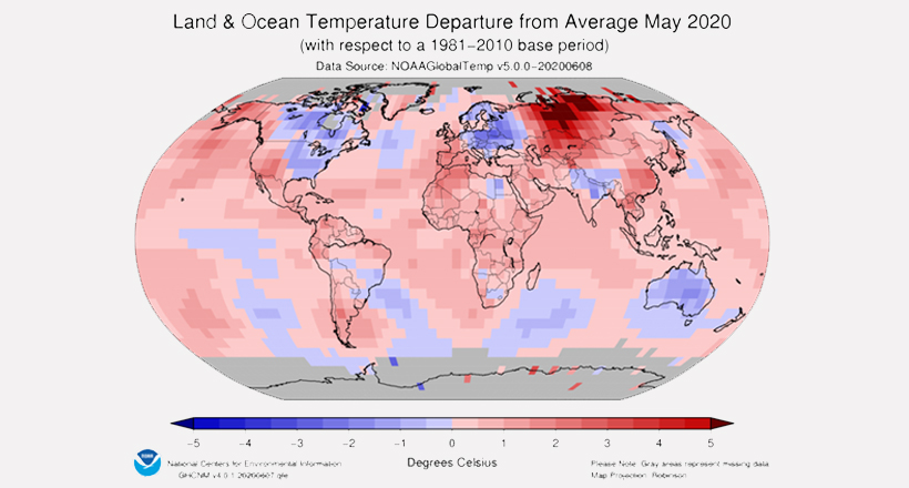 Land and Ocean Temperature departure May 2020