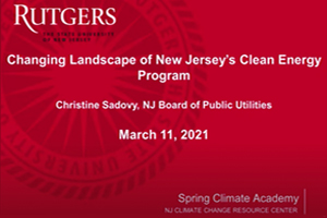 Changing Landscape of NJ Clean Energy Program