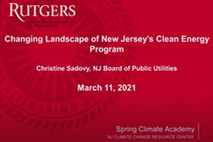 Changing Landscape of NJ Clean Energy Program