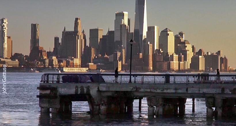 Hoboken, NYC skyline in background