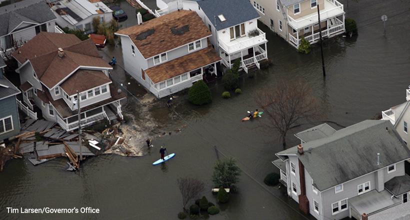 Kayakers on flooded streets after Hurricane Sandy, Belmar NJ 10-30-2012