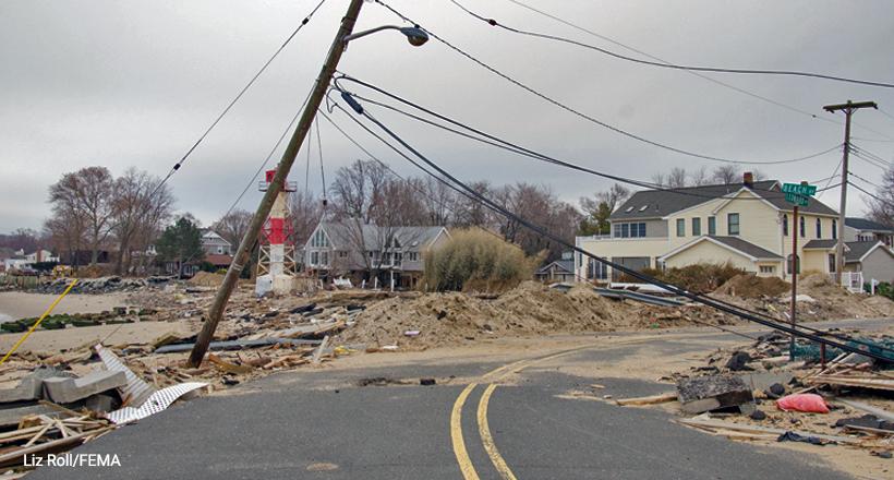 Storm damage caused by Hurricane Sandy in Leonardo, NJ