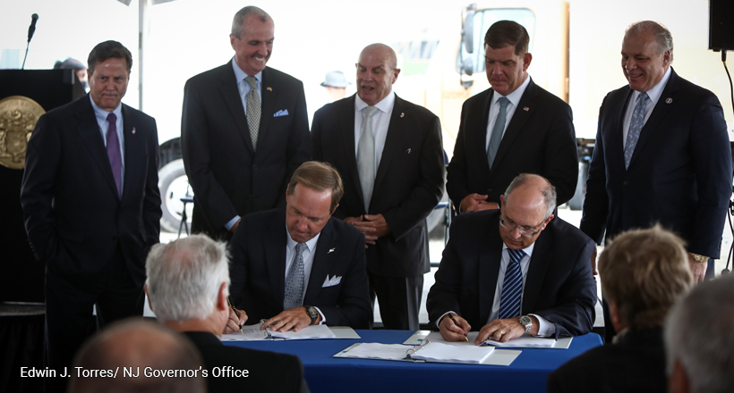 Gov Murphy and officials at groundbreaking of the New Jersey Wind Port